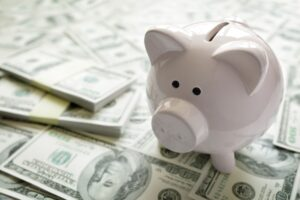 piggy bank on money concept for business finance i PHTSB