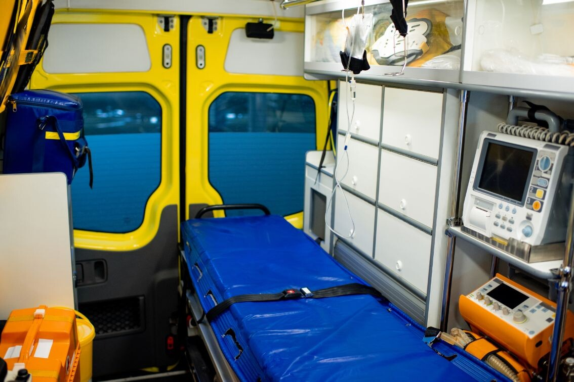 interior of ambulance car with stretcher refrigera udjwa