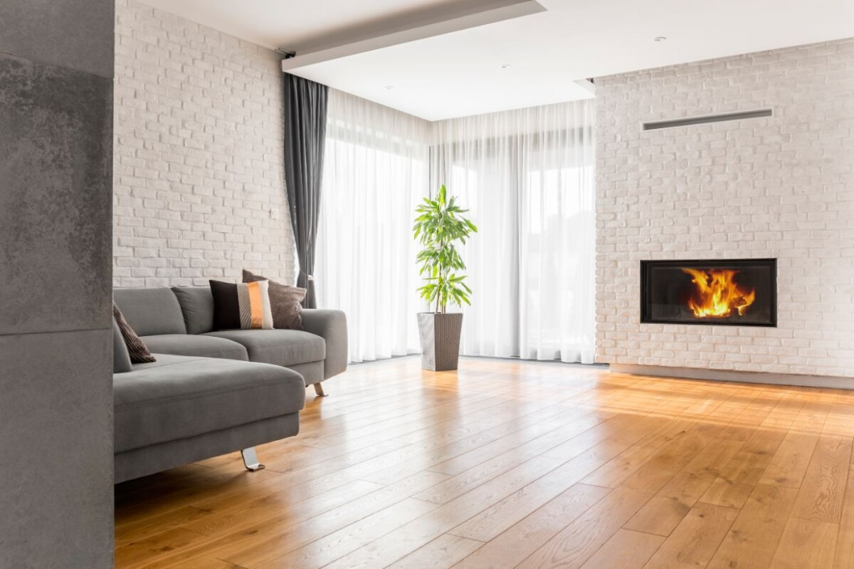 living room with wood flooring puls