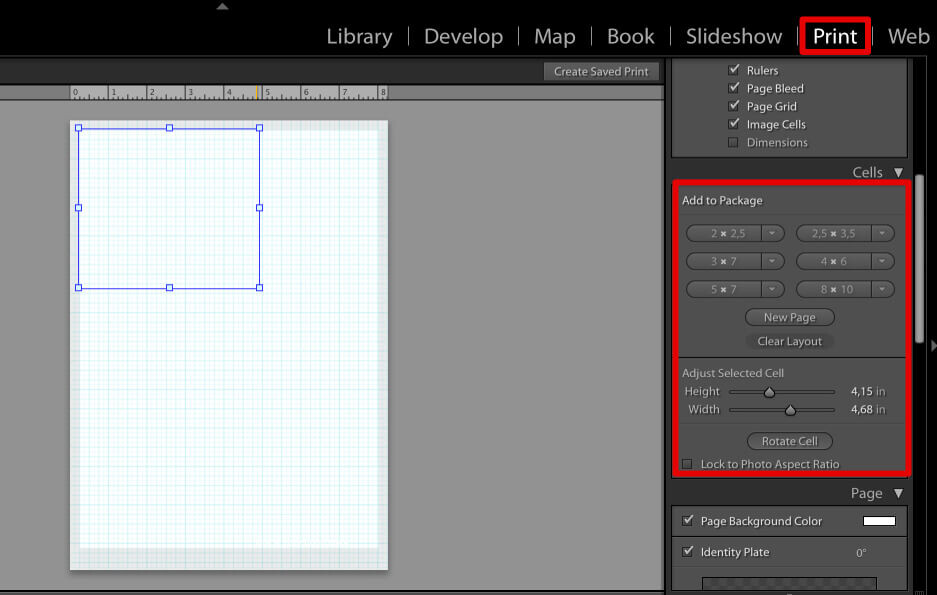 add photo cells to make a collage in lightroom using own design