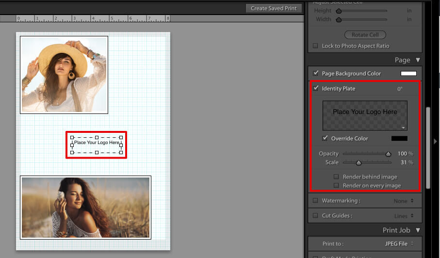 final touches to make a collage in lightroom using own design