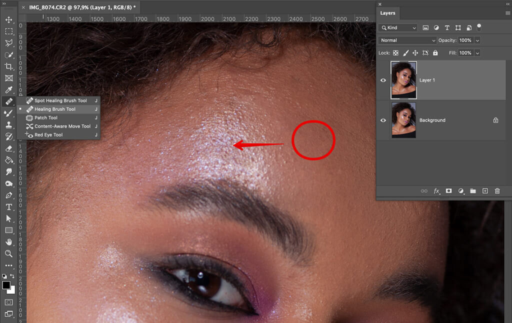how to remove glare from photos face retouching healing brush tool