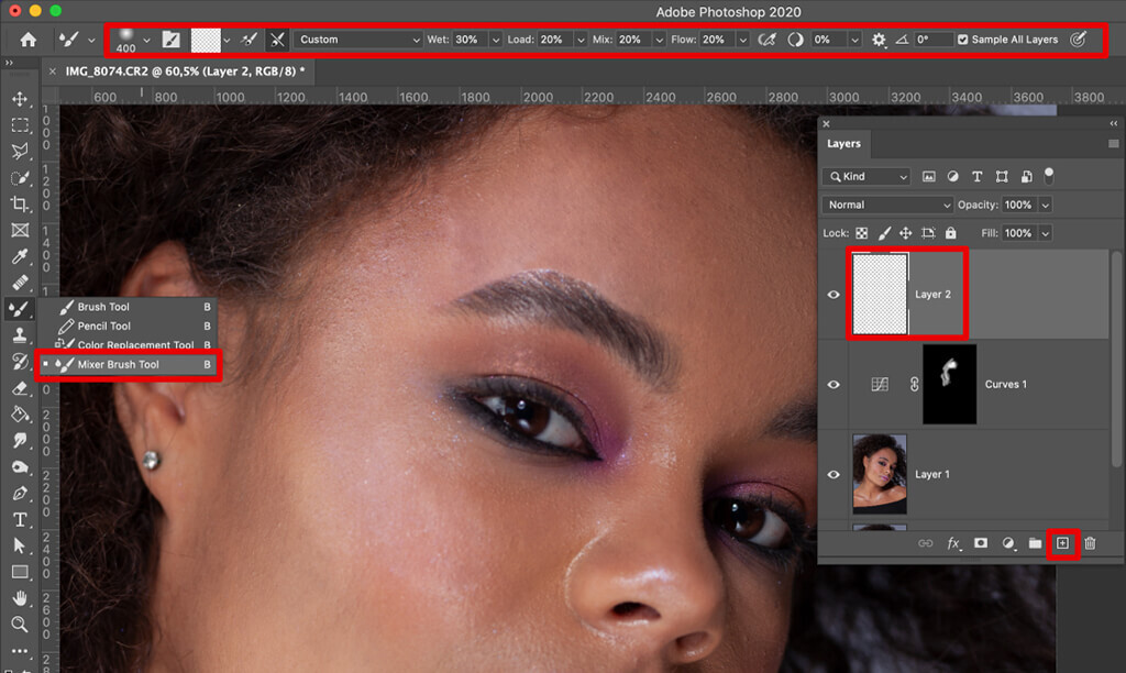 how to remove glare from photos face retouching mixer brush tool