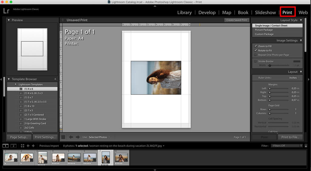 import the collage template to make a collage in lightroom