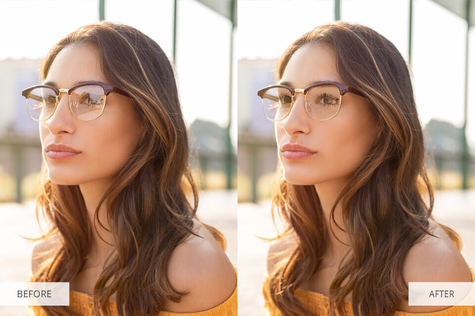 remove glare from photo glasses before after