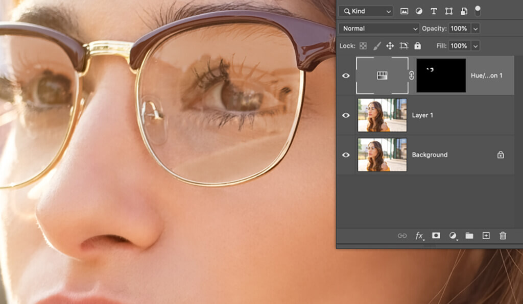 remove glare from photo glasses invert layer mask