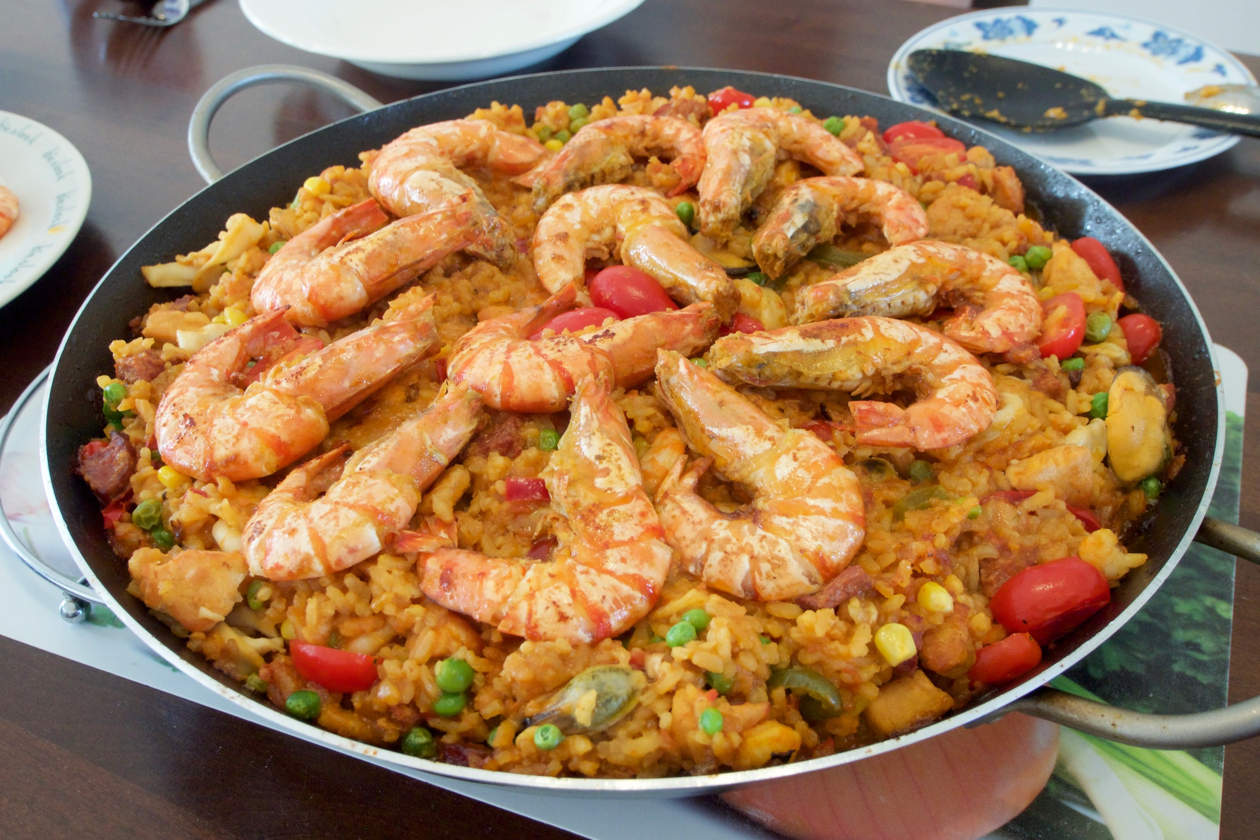 Homemade Paella with lots of seafood