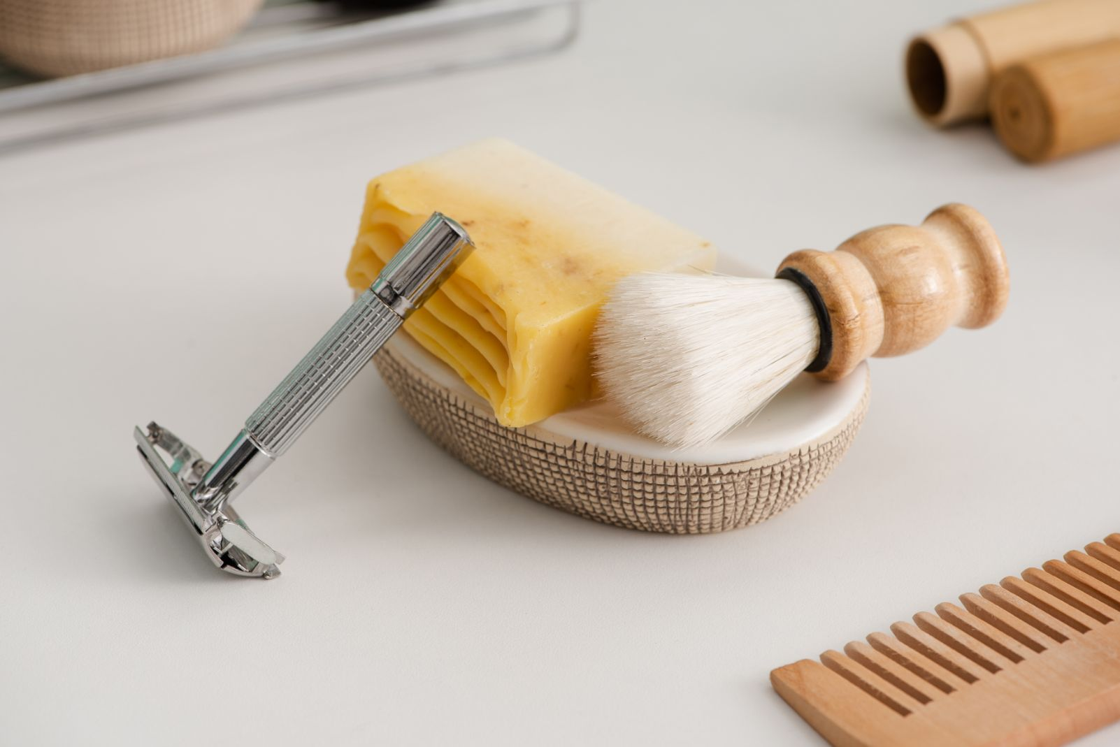 close up view of dish with soap shaving brush and WNEVS