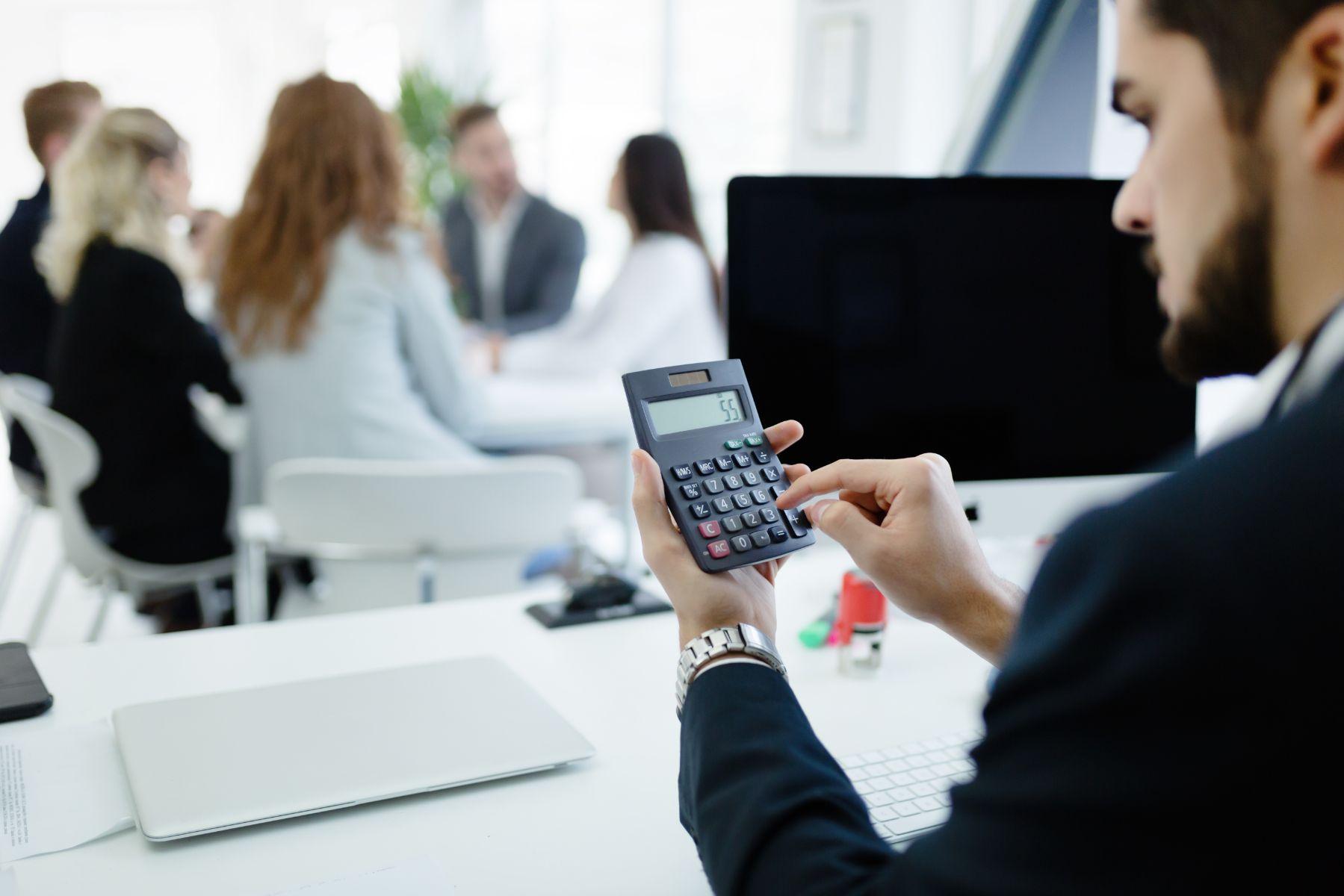 accountant checking statistics of company shxwj